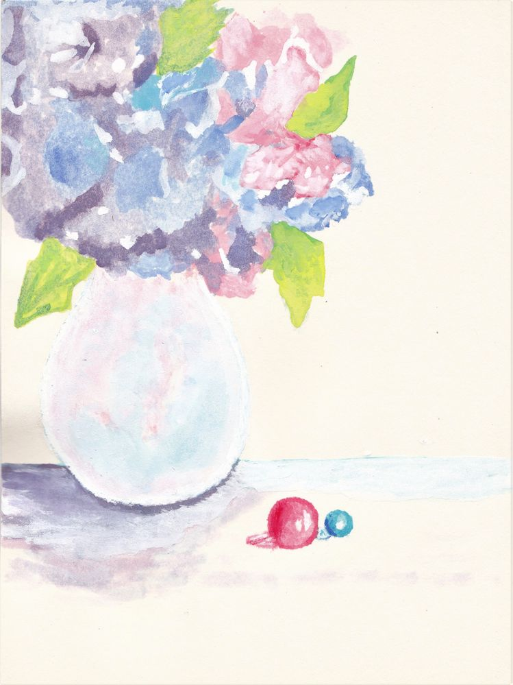 Glass vase with flowers in Watercolour